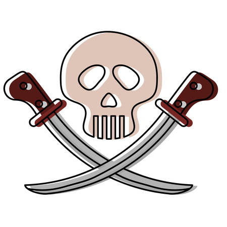 Pirate skull with swords icon over white background vector illustration. Illustration