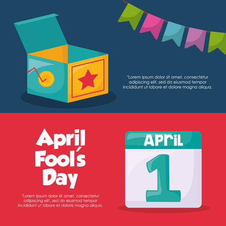 April fools day design with joke box and calendar illustration.