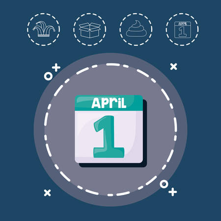 April fools day with calendar design in gray circle on blue background with icon, app. Illustration
