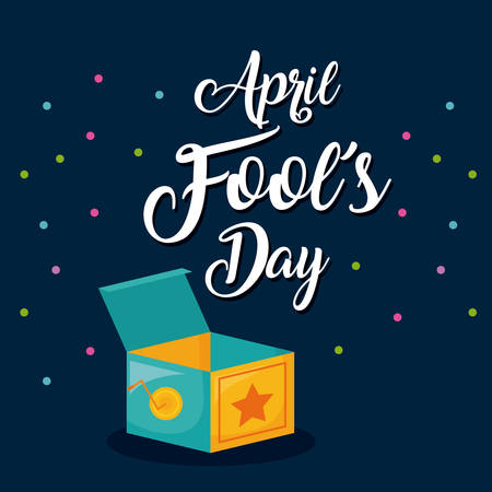 April fools day design with joke box illustration on blue background. Ilustração