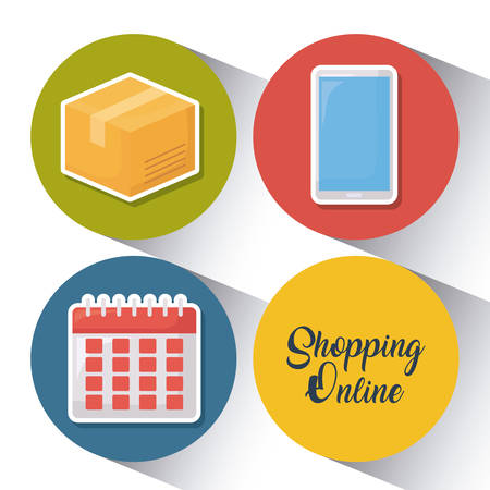 Shopping online design in multi-color circle with calendar and smartphone illustration.