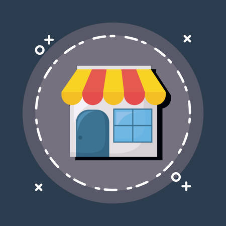 Shopping online design with shop in circle gray illustration on blue background.