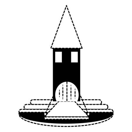 Little medieval castle with drawbridge over white background. vector illustration Illustration