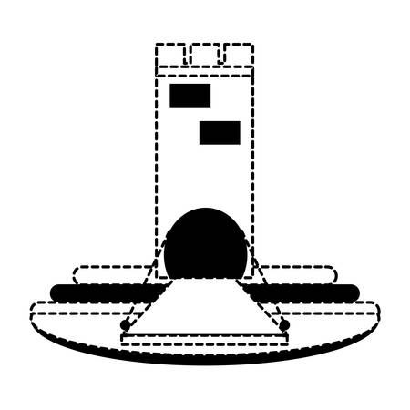 Medieval castle tower with drawbridge  over white background vector illustration