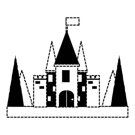 Fairy Tale Castle with pines at the entrance over white background. vector illustration Illustration