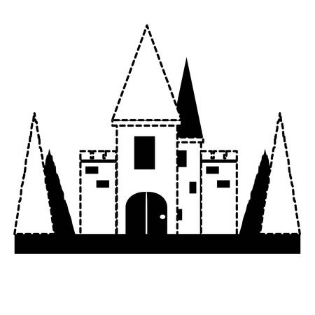 medieval Castle Surrounded by Nature icon over white background, monochrome design. vector illustration Illustration