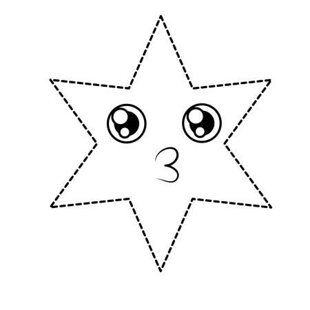 Kawaii star blowing a kiss over white background vector illustration