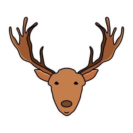 deer with horns over white background, colorful design. vector illustration Illustration