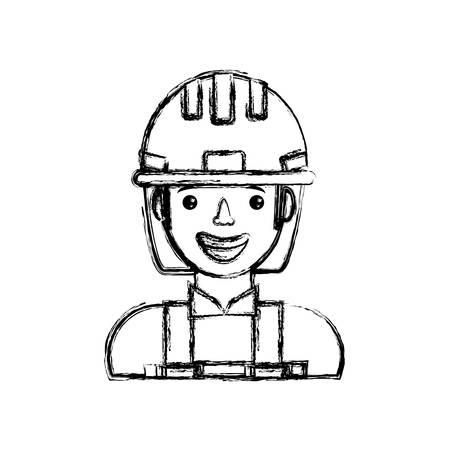 cartoon builder man icon Illustration