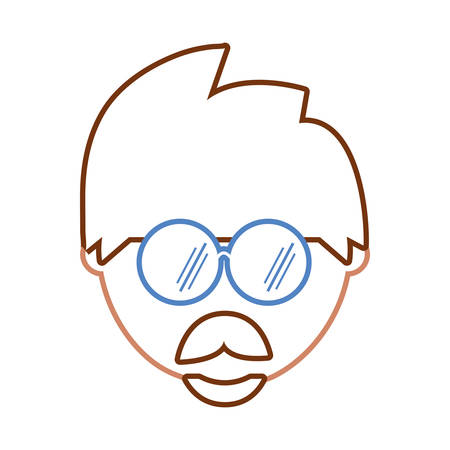 flat line colored man face  with glasses over white background  vector illustration Çizim