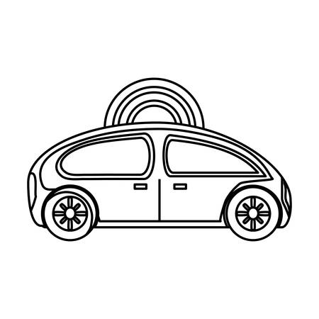 flat line uncolored   car over white background  vector ilustration Ilustracja