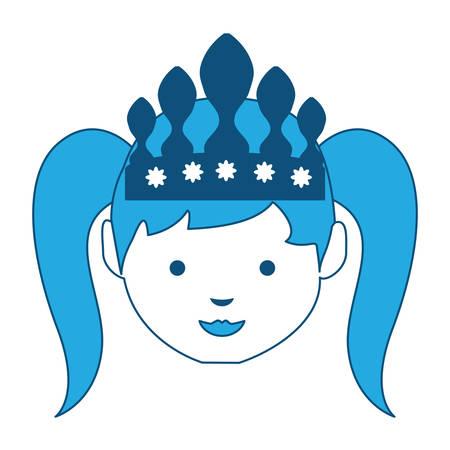 Cartoon princess icon wearing tiara in blue shade illustration. Illustration