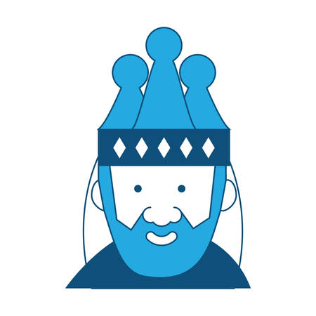 Cartoon king icon wearing crown in blue shade illustration. Illustration