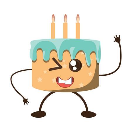 Birthday cake winking icon Illustration
