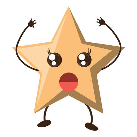 Surprised star icon over white background, colorful design vector illustration.