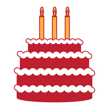 Sweet birthday cake with candles over white background, colorful design vector illustration.
