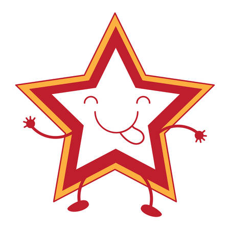 Cute star showing the tongue over white background, red and yellow design. vector illustration Illustration
