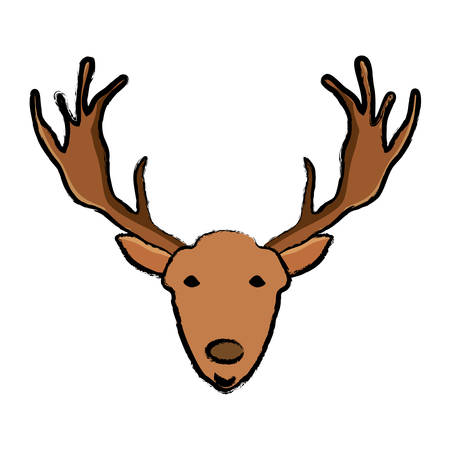 Deer with horns over white background, colorful design. Illustration