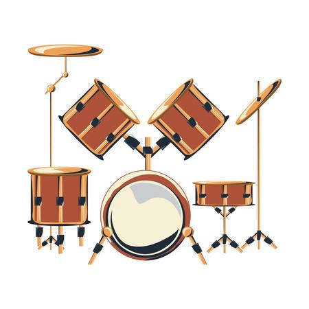 drum set instrument icon over white background, colorful design vector illustration