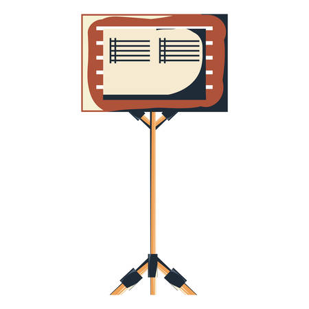 Music stand for scores icon over white background, colorful design vector illustration