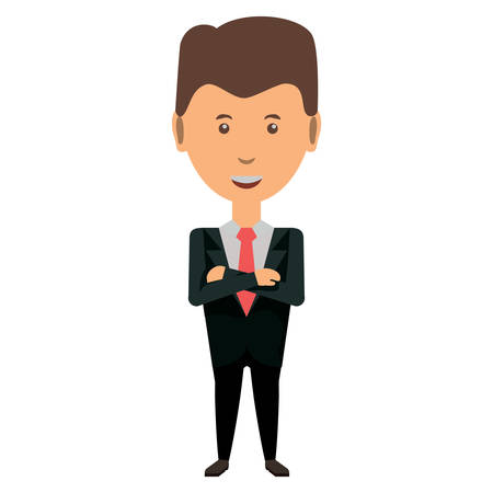 cartoon businessman standing with arms crossed over white background, colorful design vector illustration Stock Illustratie