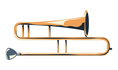 trombone instrument icon over white background, colorful design vector illustration
