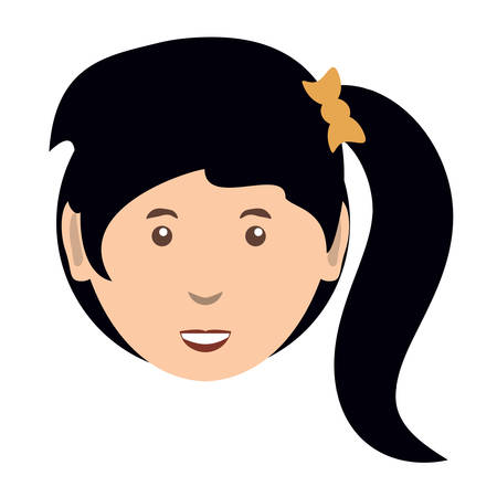 cartoon woman with pony tail icon over white background, colorful design  vector illustration Standard-Bild - 94989453