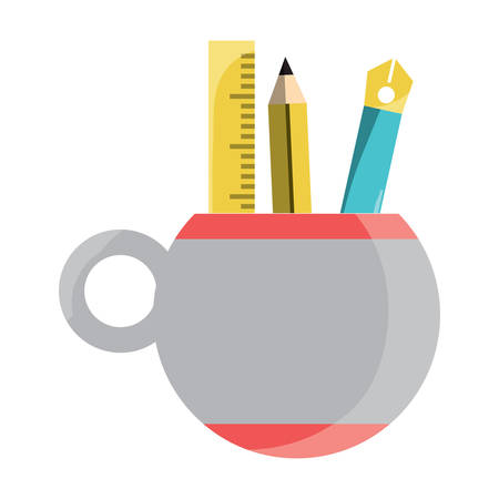 pencil cup holder with utensils icon over white background, colorful design. vector illustration