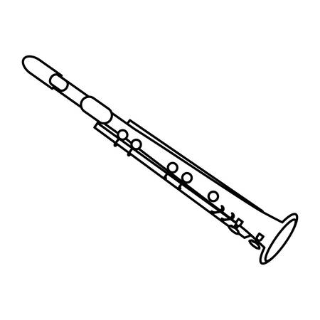 clarinet instrument icon over white background vector illustration Ilustração