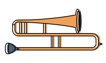 Icono de instrumento trombón sobre fondo blanco, ilustración vectorial de diseño colorido
