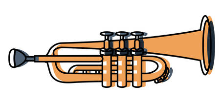 trumpet instrument icon over white background, colorful design vector illustration