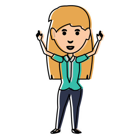 cartoon excited businesswoman over white background, colorful design vector illustration