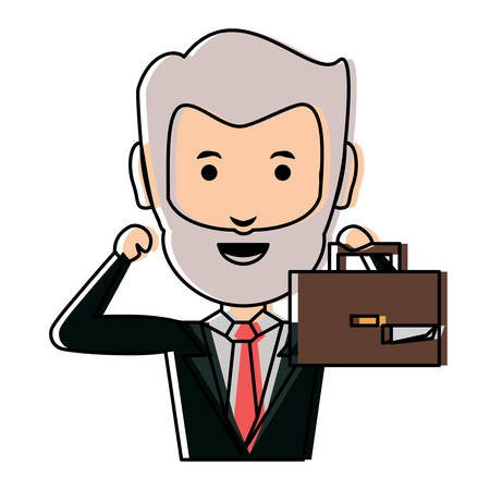 Cartoon businessman holding a briefcase over white background vector illustration