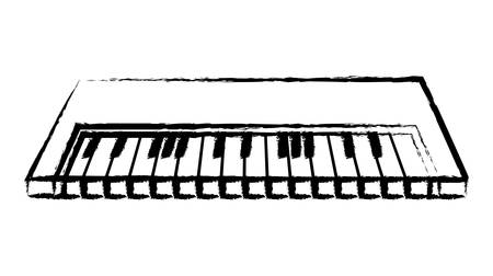 sketch of piano  instrument icon over white background vector illustration Illustration