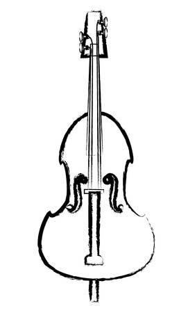 sketch of cello instrument icon over white background vector illustration