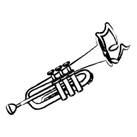 sketch of trumpet instrument with musical notes over white background vector illustration  イラスト・ベクター素材
