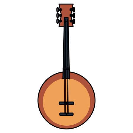 banjo instrument icon over white background, colorful design vector illustration