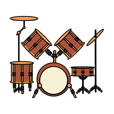 drum set instrument icon over white background, colorful design vector illustration