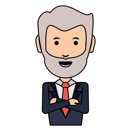 cartoon businessman with arms crossed over white background, colorful design vector illustration