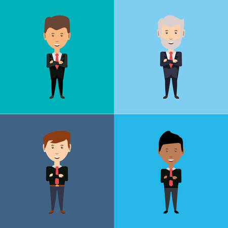 Men   with arms crossed in different colored background. Vector illustration. Business character design Stock Illustratie