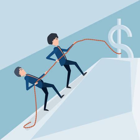 Two men holding rope going to dollar sign. Vector illustration. Business concept design Illustration