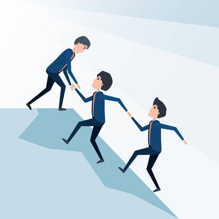 cartoon businessman helping the teammates to climb the top of the mountain, colorful design vector illustration