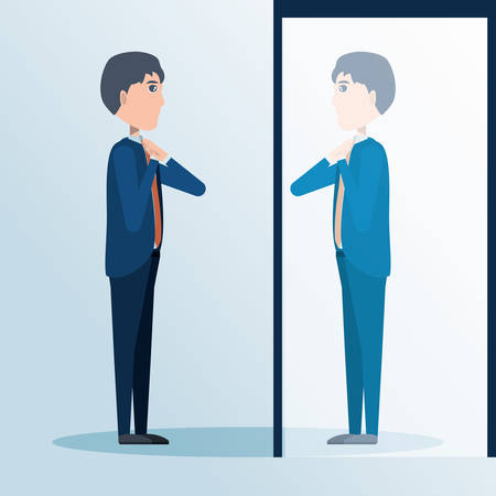 cartoon businessman looking at himself in the mirror, colorful design vector illustration Illustration