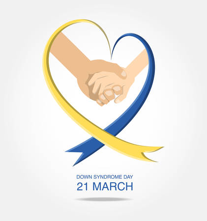 Down syndrome day design with awareness ribbon and together hands over white background, colorful design vector illustration Vettoriali