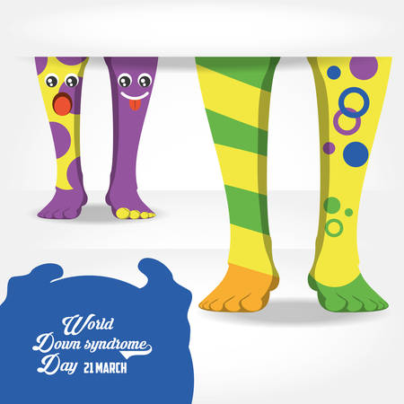 Down syndrome day design with feet with cartoon and colorful socks over white background vector illustration