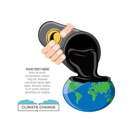 Infographic design of Climate change design with hand spilling oil on earth planet over white background, colorful design vector illustration
