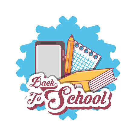 Back to school design with book and school supplies over white background, colorful design vector illustration.