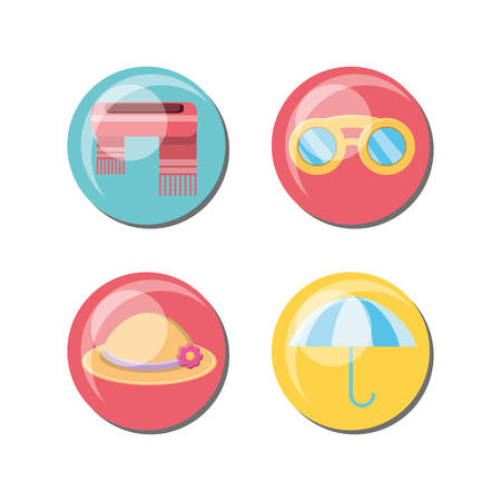 Seasonal weather related icons over colorful circles and white background, vector illustration.