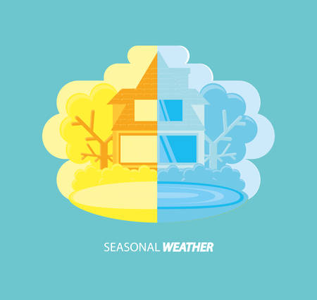 Seasonal weather design with a house half in winter and the other half in summer season over turquoise background, colorful design vector illustration.