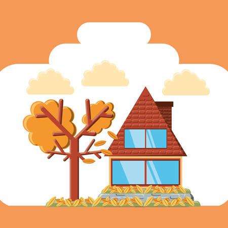 Autumn season design with house and tree over orange background, colorful design vector illustration. Illustration